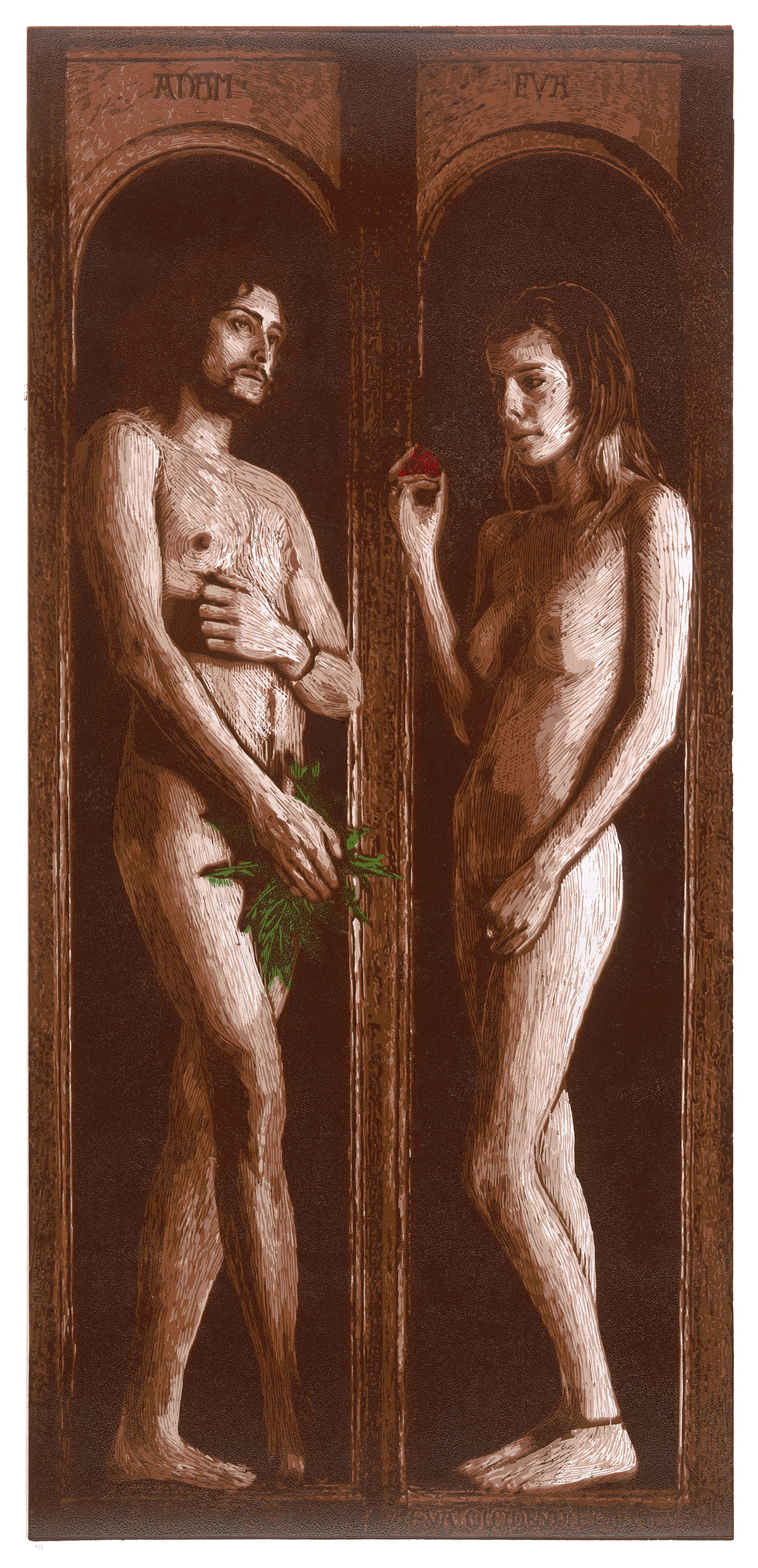 Adam and Eve, after Van Eyck » Woodcut, 2013